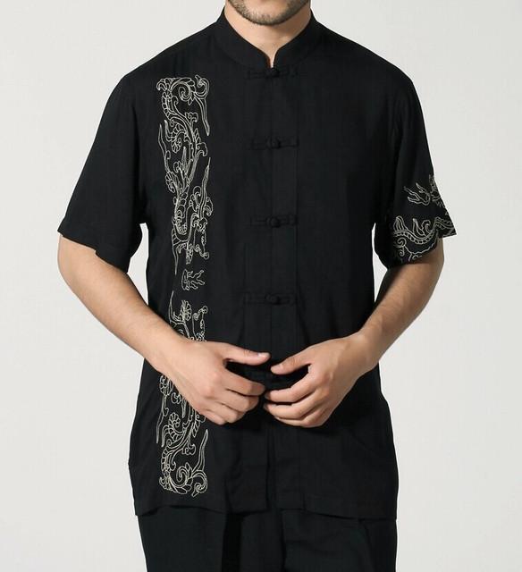 Preto chinês tradicional estilo Kung Fu camisa de manga curta roupas tamanho ml XL XXL XXXL frete grátis Mny-03C