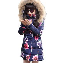 Hot sell 2017 Fashion Medium-long Winter Coat for Girls Children Clothing Big Girls Printed Cotton-padded Jacket with Fur Hood