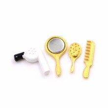 4 Stücke Set Kinder Spielzeug 112 Dollhouse Miniature Praktischer Badezimmer  Zubehör Kamm Fön Spiegel Modellbau Kits