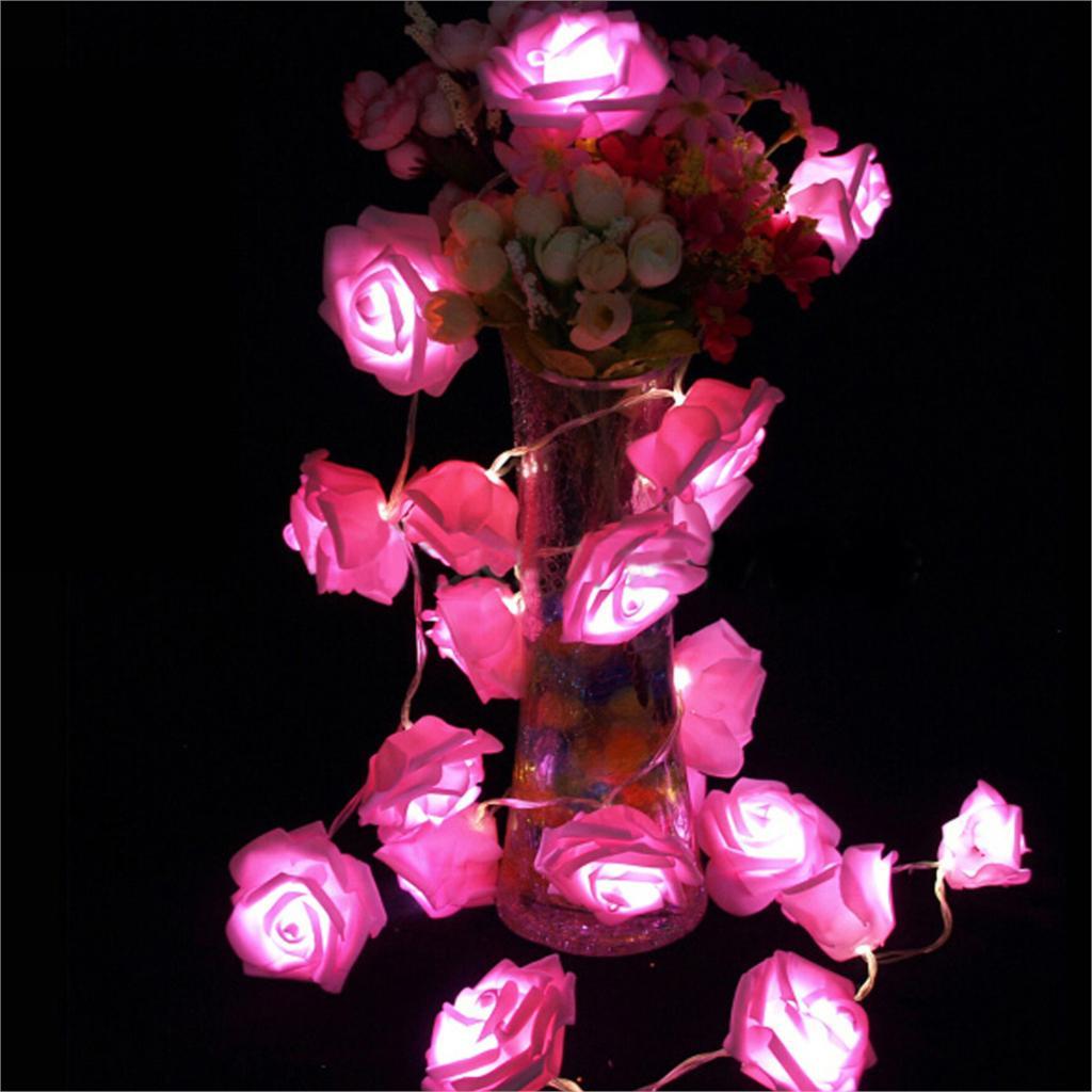 Rose Flower String LED Lights Festival Christmas Lighting Decor ...