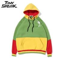 Reggae Jamaica Patchwork Fleece Winter Hoodie Men S Hip Hop Casual Embroidery Pray Skull Pullover Sweatshirt
