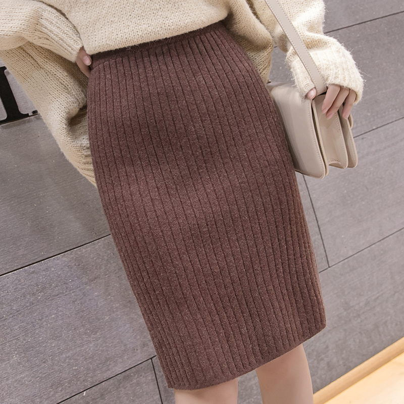 Skirts Womens Korean Fashion Sweaters Skirt Elegant Women Knitted Sweater Skirts Womens Autumn Winter Wool Bodycon Pencil Skirt
