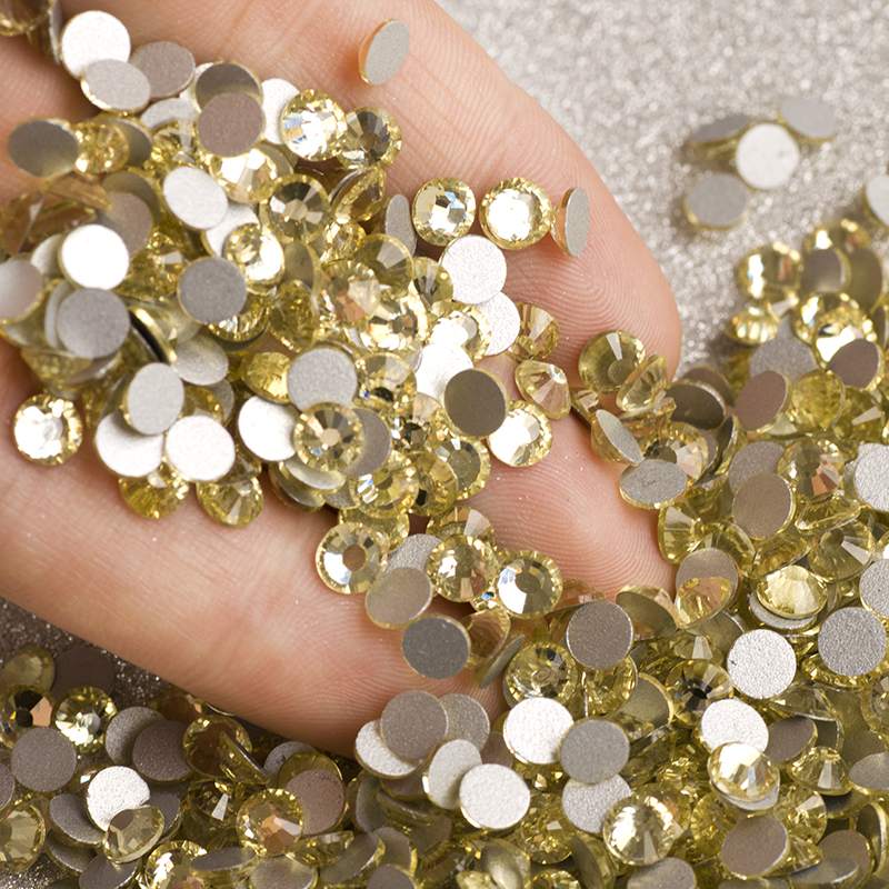 YANRUO Jonquil Yellow Glass Stones Non Hotfix Flatback Strass Nail DIY Rhinestones Crystals Glue on Clothing in Rhinestones from Home Garden