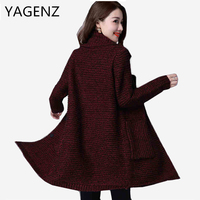 YAGENZ Large Size M 4XL Women Thick Sweater Coat Korean Spring Autumn Loose Long Sleeved Knitted
