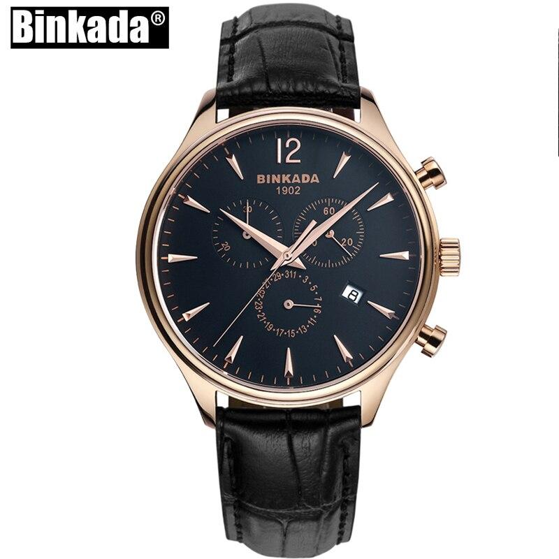все цены на Luxury BINKADA Quartz Men Watch Genuine Leather Watches Clock Men Chronograph Sport Watch Relogio Masculino for Man Male онлайн