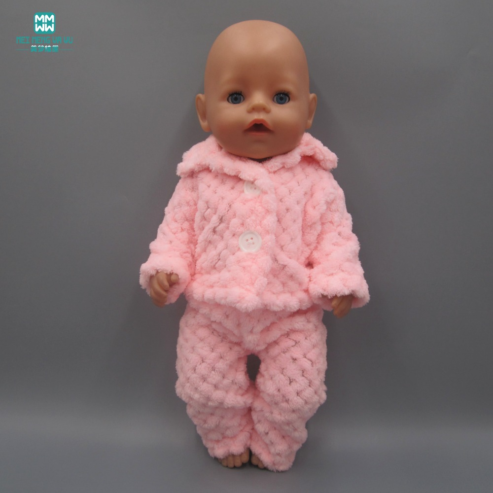 Baby Born Doll Clothes fits 43cm american girl and Zapf Baby Born Doll fashion pink plus velvet pajamas clothes + trousers