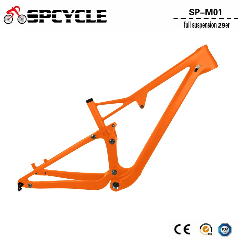 Spcycle 29er Full Suspension Carbon Frame, Carbon MTB Frame 29er Mountain Bike Carbon Frame 142*12mm Thru Axle 165*38mm Travel 29er full suspension mountain bike toray carbon fiber mtb bicicleta bicycle frame ud matt bb92 165 38mm rear shock travel 110mm