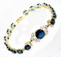 jewerly bangle >NEW FASHION Blue Crystal Tiger Eye Link Bracelet