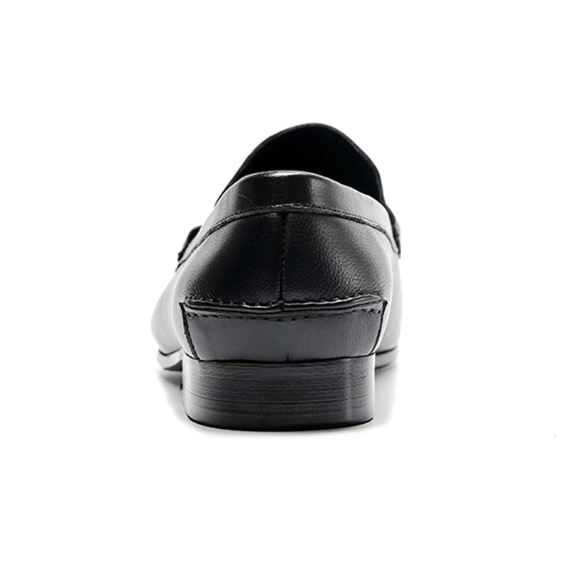 Casuais Preto Handmade De Couro Deslizamento Mocassim Mocassins Homem Pontas marrom Calçados Dos Genuíno Toe Confortáveis Metal Em Homens Novo Rodada Ss336 Sapatos 7FRqqw