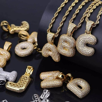 Cubic Zircon Letters Pendant Necklaces