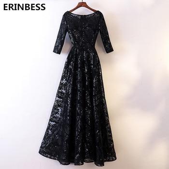Vestido De Festa Half Sleeve Sexy Scoop Neck Evening Dress Robe De Soiree 2019 Black Lace Evening Dresses Long Dress Real Photo