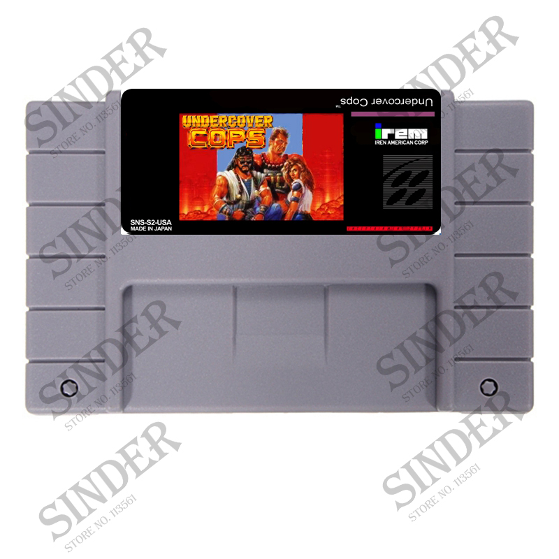 Undercover Cops USA Versioon 16 bit Big Grey Game Card NTSC Game Playerile