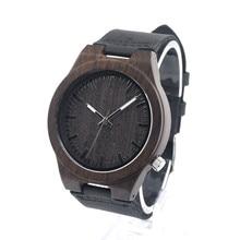 2016 Festival del Día Conmemorativo Negro Reloj de pulsera de Madera de Trabajo De Arte Hecho A Mano De Madera Natural de Cuarzo Relojes Con la Caja De Papel