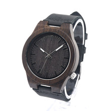 2016 Festival Memorial Day Gift Black Wooden Wristwatch Work Of Art Handmade Natural Wood Quartz Watches