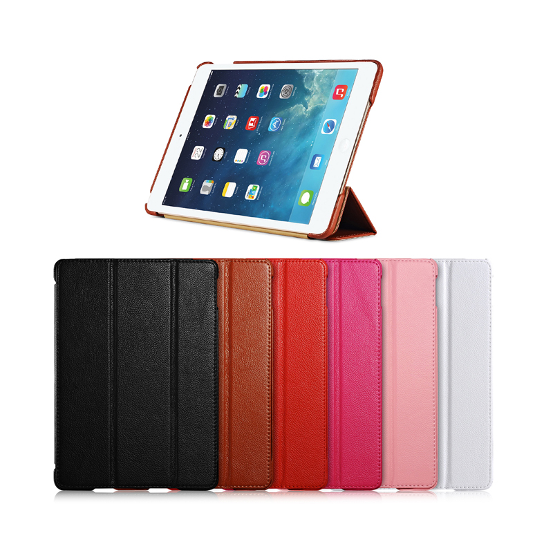 For iPad Air 2 Slim Smart Case New Luxury Genuine Leather Cover For ipad 6 Litchi Texture Funda Case for ipad air 2 for ipad air glittery powder imprint butterfly flower leather smart casing rose gold