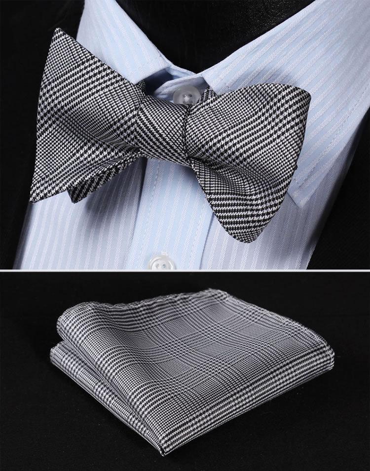BG105L Black White  Houndstooth 100%Silk Jacquard Woven Men Self Bow Tie BowTie Pocket Square Handkerchief Hanky Suit Set