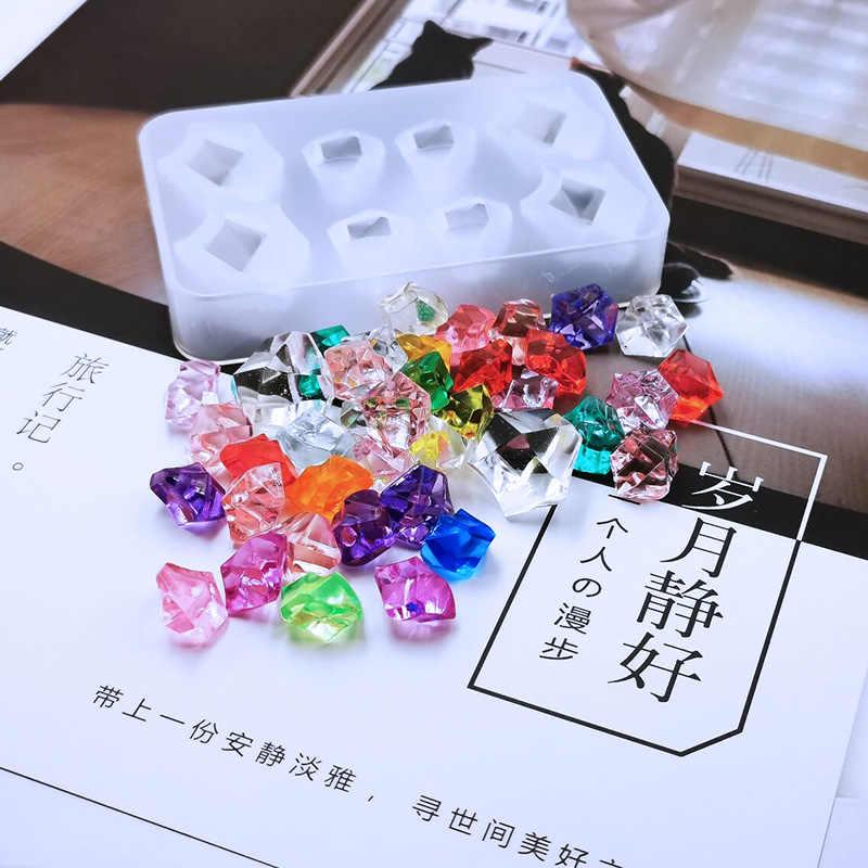 Molde de silicona QIAOQIAO DIY con gema de diamantes, molde de cubo para hacer hielo, bandeja de Chocolate, molde de fiesta, herramienta de moldes de cristal