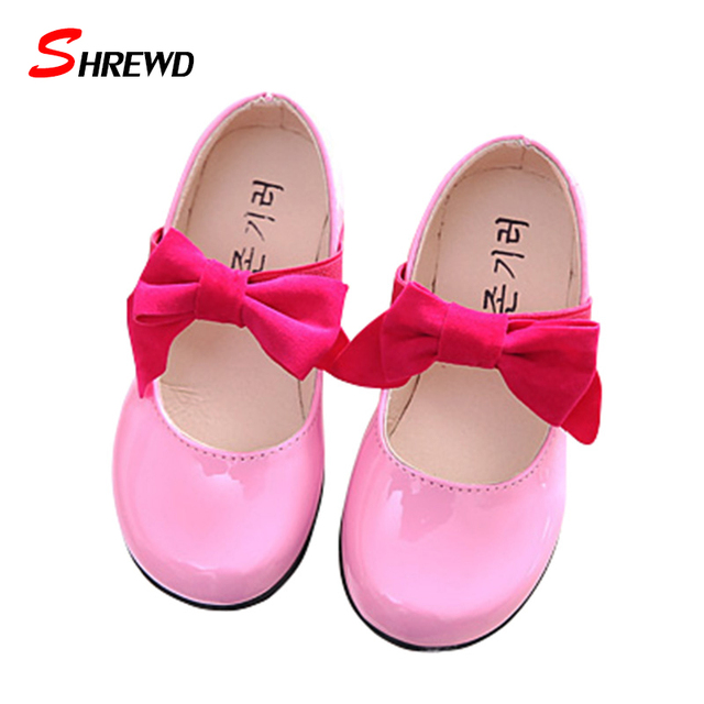 Children Shoes Girls Spring New 2017 Fashion Big Bow Leather Shoes Girls Simple Pure Color Kids Shoes Insole 16-22cm 9683W