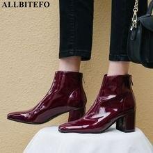 ALLBITEFO di modo di marca del cuoio genuino piazza punta degli alti talloni delle donne stivali di alta qualità delle donne tacco alto scarpe stivali alla caviglia delle donne
