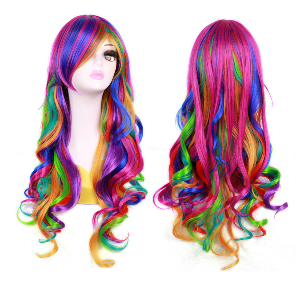 Cosplay Colorful Tilted Frisette False Fake Hair Long Curly Wavy Wig Hairpieces 8 colours colorful curly hair party cosplay long wavy wigs