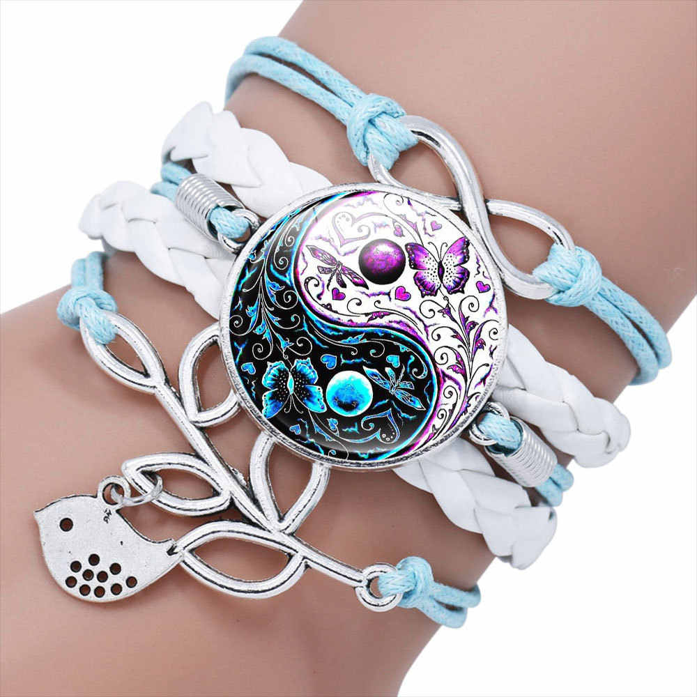 2019 New Chinese Elements Yin Yang Tai Chi Crystal Glass Hand-woven Multilayer Bracelet Jewelry Gift