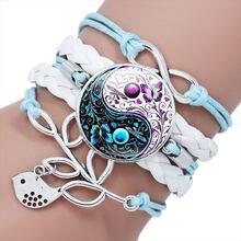 2020 novos elementos chineses yin yang tai chi cristal vidro mão tecido multicamadas pulseira de couro jóias presente
