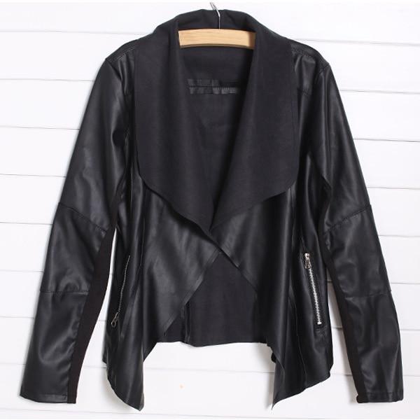MALL Trendy Retro Lady Women Slim Biker Motorcycle PU Soft Leather Zipper Jacket Coat Black Asian Size S(US Size S(2) UK Size 2
