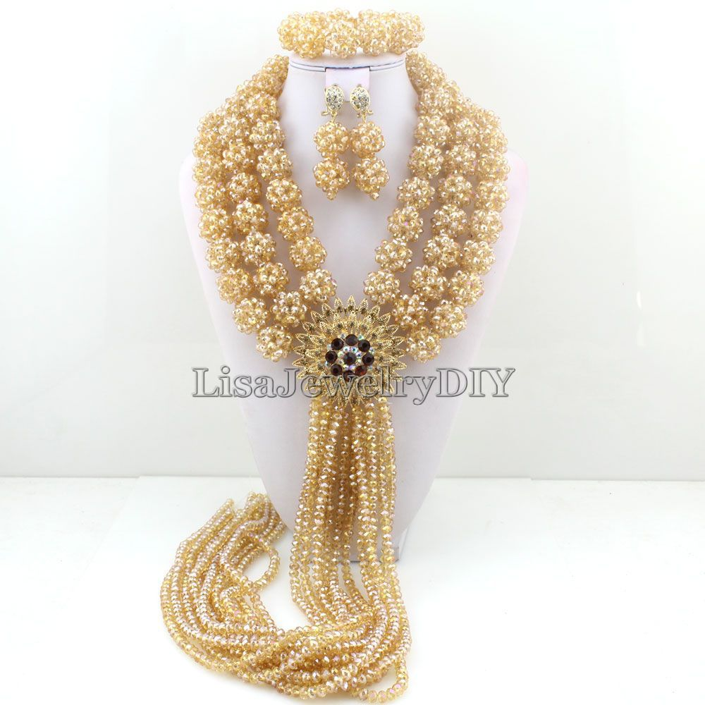 Nigerian Wedding Bridal Indian Beads Jewelry Set African Beads Crystal Beads Balls Jewelry Sets HD3746 fashion nigerian wedding bridal indian beads jewelry set african beads crystal beads balls jewelry sets hd3748