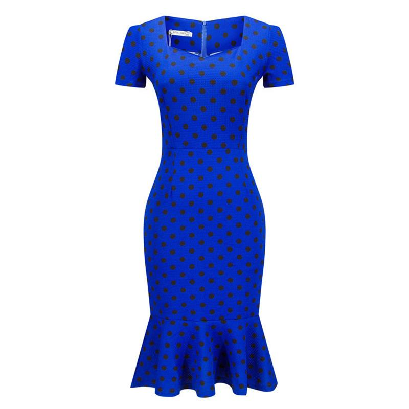 RU Clothings Store Plus Size  Summer Women Plaid Dress V-neck Simple Evening Wear Hip Slim Turmpet Fishtail Dresses For Women