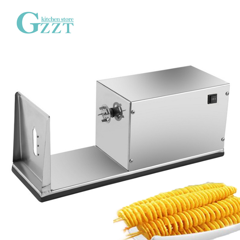 GZZT Electric Tornado Potato Spiral Cutter Stainless Steel Slicer Tower Making Twist Shredder
