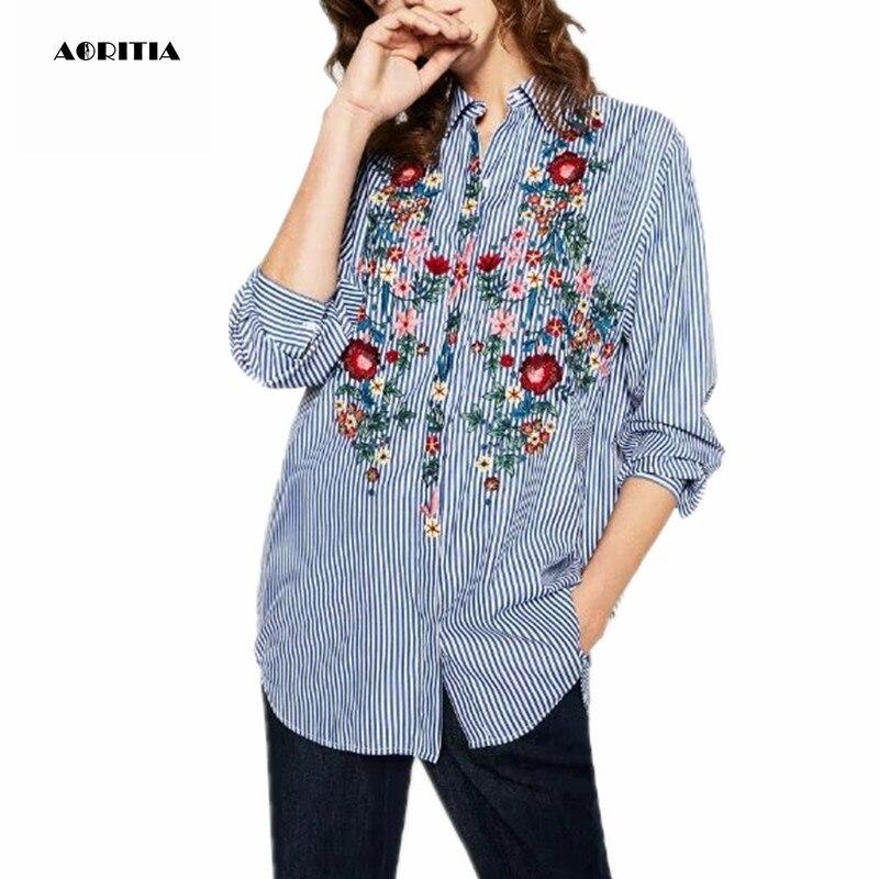 Blusas vuelta de rayas de Bordado blusas 2017 manga Tops larga cuello floral Masajeadores abajo de Inverno camisa mujeres Swq4txIPX