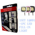 Top Selling 1Set Of LQ001 Fish eye Micro Wide Angel 3 in1 Clip Lens+1PC LED Flash and Fill-in Light High Quality