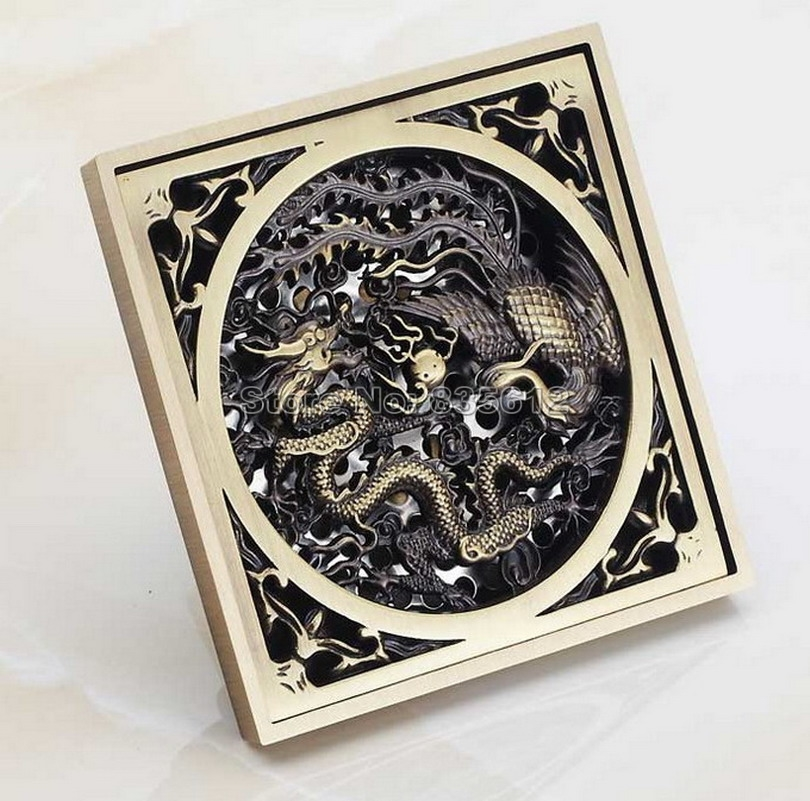 Antique Brass Dragon Phoenix Carved Bathroom Floor Waste Grate Shower Drain Drainer Whr017 new luxury classical antique bronze push down pop up drainer waste without overflow