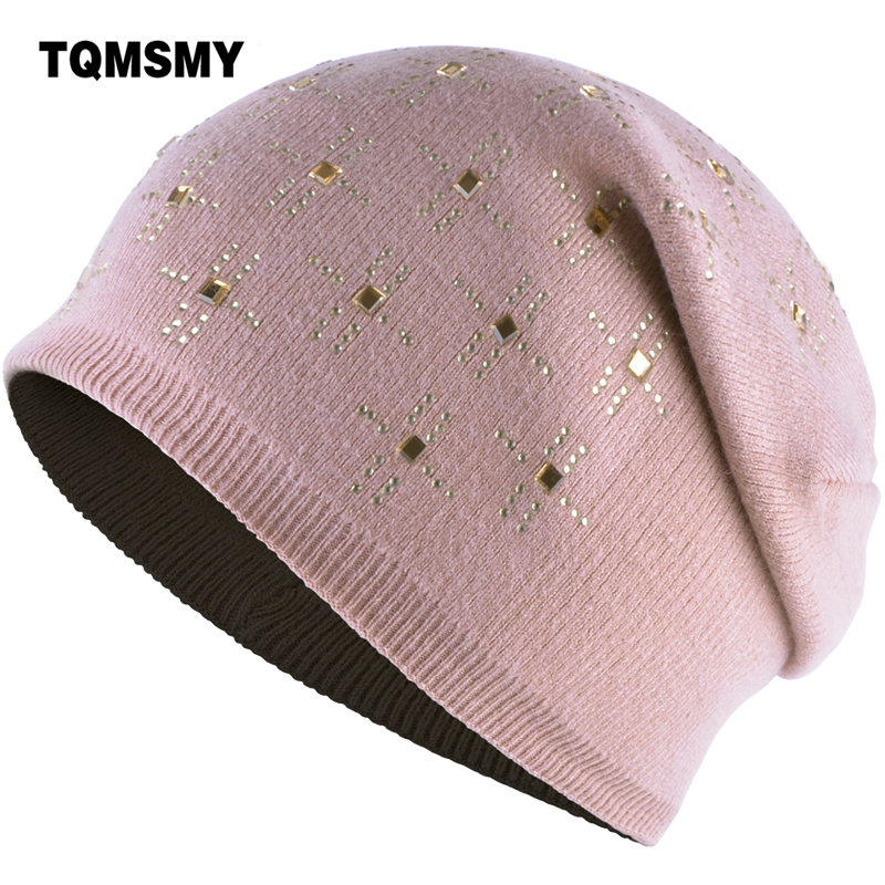 TQMSMY Rhinestone Women Autumn Winter Warm Rabbit Fur Knitted Beanies Thick Double Layer Wool Skullies Female Hat Beanie TMS89 adult beanie skullies rabbit fur ball shining warm knitted hat autumn winter hats for women