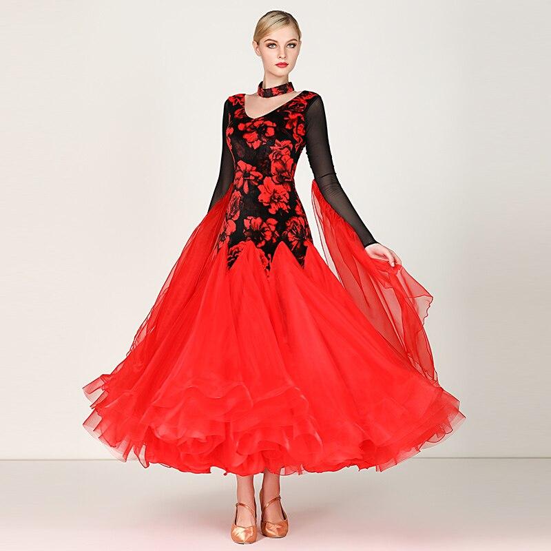 Standard Ballroom Dresses Women 2019 New Style Long Sleeve Lycra Waltz Competition Dancing Skirt Adult Red