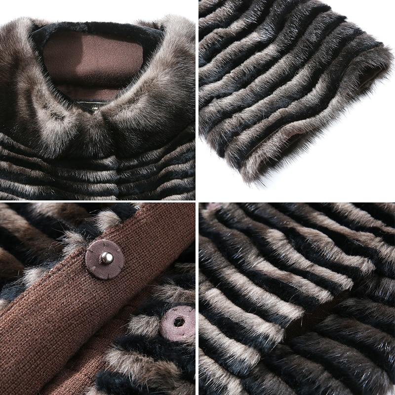 Femmes D'hiver Véritable Parkers De Fourrure Chaud Manteaux Nouvelles Naturel Tricoté 2018 Brown Long Hdhohr Mode Vison Vestes Pour EwPHqnx