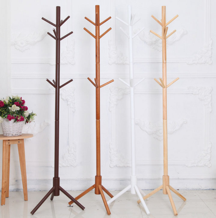 Creative Coat Rack Simple Assembly Solid Wood Bedroom Hanger Wardrobe Display Stands Hanging Scarves Hats Bags Clothes Shelf