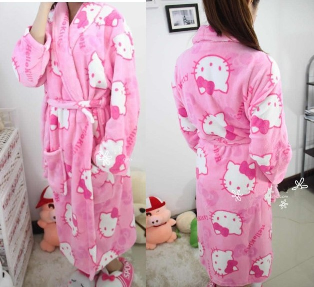 ac6427eb8 Hello Kitty Winter coral fleece robe heart women's long-sleeve bathrobes  thickening plus size home