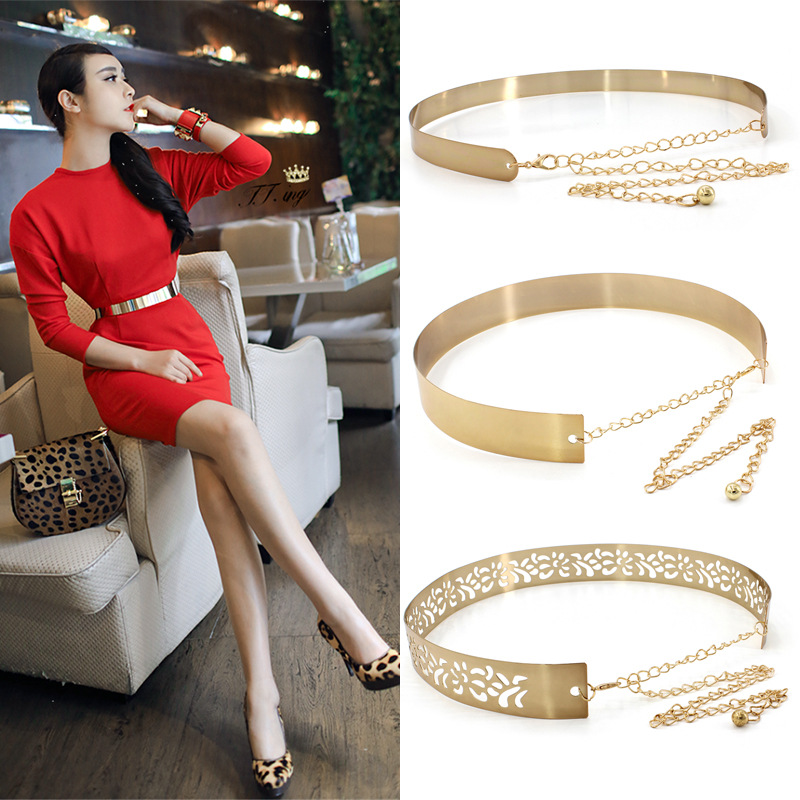 Women Punk Full Metal Mirror Skinny Waist   Belt   Metallic Silver Gold Plate 2cm 3.5cm Wide Chains Lady Ceinture Sashes For Dresses