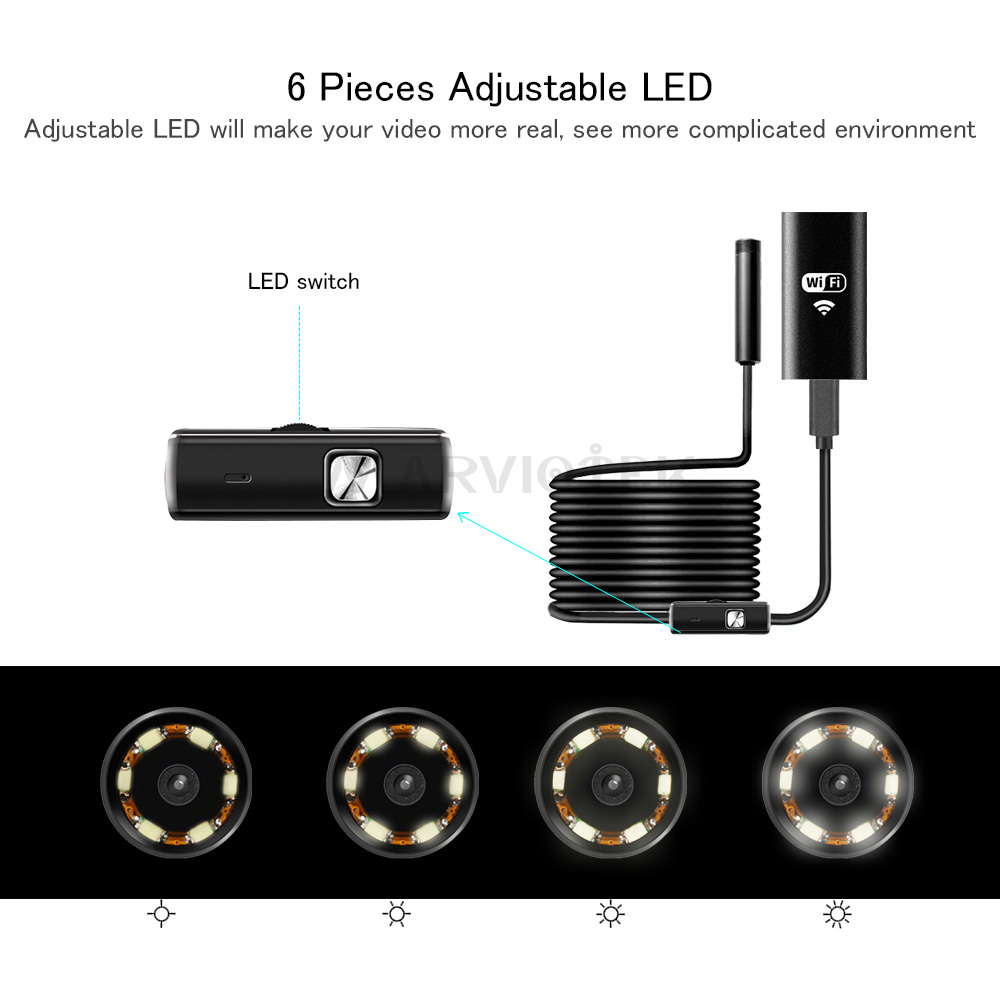8mm Mini WIFI Endoscope Camera Soft Cable Waterproof  Inspection Camera USB Endoscope Borescope IOS Endoscope Camera For Iphone