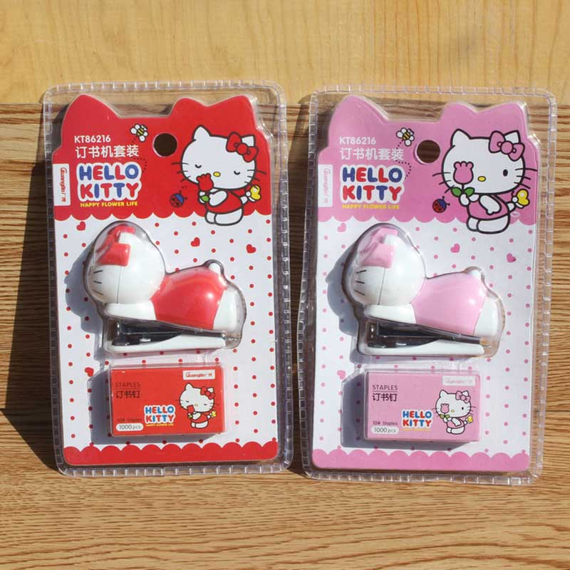 1pcs Pink/red Kitty Stapler Children's Stationery Mini Cartoon Cute Stapler Stapler Set For Kawaii Girls
