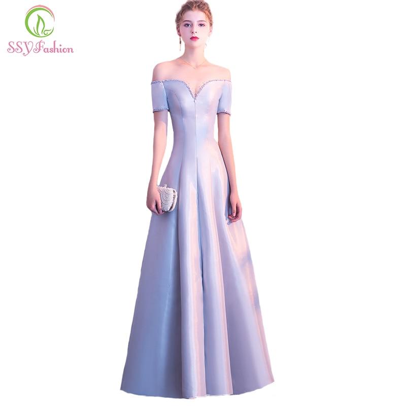Aliexpress Com Buy New Design Simple But Elegant Short: SSYFashion New Elegant Grey Satin Evening Dress Simple