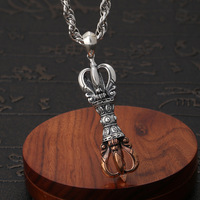 2019 New Vintage Pendant 100% 925 Sterling silver Men Buddha Vajra Amulet Necklace Pendant Christmas Jewelry Gifts Free Shipping