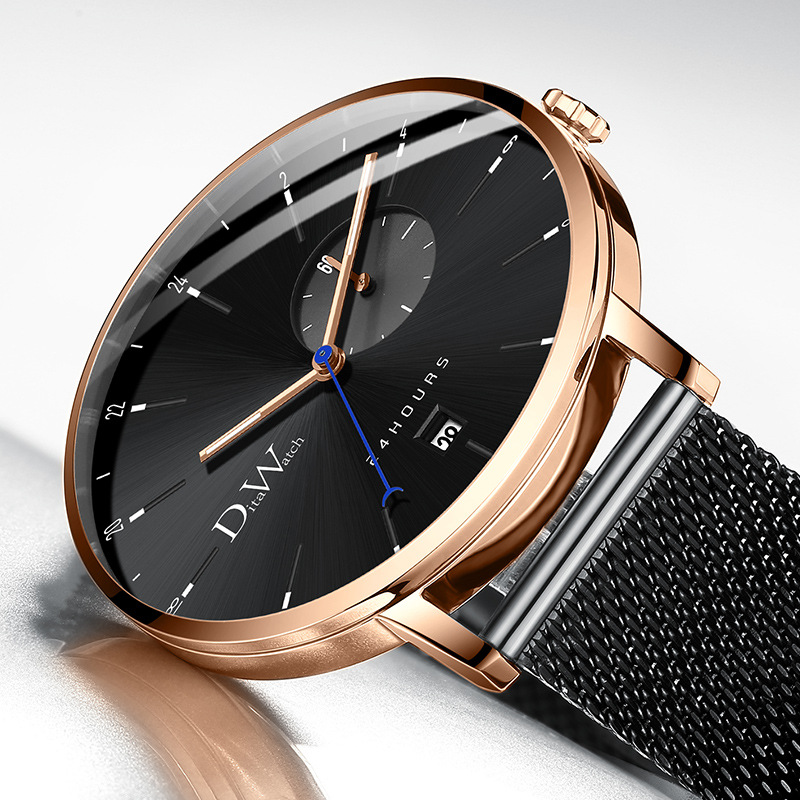 DITA Watch Men Fashion Creative Simple Thin Dial Colorful Waterproof Auto Date Available Strap Wristwatch <font><b>Montre</b></font> <font><b>Homme</b></font> <font><b>2019</b></font> image