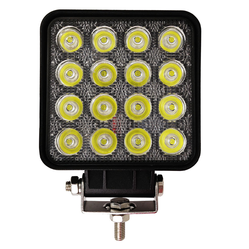 1pc 48W 4.3 Inch Square LED Spot Working Light For SUV 4WD Offroad ATV Car Marine Boat Truck Tractor Fog lamp Headlight 16LED