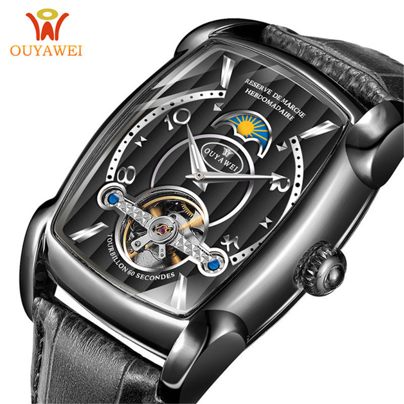 OUYAWEI Mens Square Skeleton Watch Automatic Men Mechanical Watch Luxury Brand Tourbillon WristWatches Relogio Masculino 2019OUYAWEI Mens Square Skeleton Watch Automatic Men Mechanical Watch Luxury Brand Tourbillon WristWatches Relogio Masculino 2019