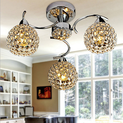 LED Crystal Ceiling Light For Home Modern K9 E14 Living Room Bedroom Lampshade Decoration 90-240V Home Decor Luminaire WPL160 noosion modern led ceiling lamp for bedroom room black and white color with crystal plafon techo iluminacion lustre de plafond