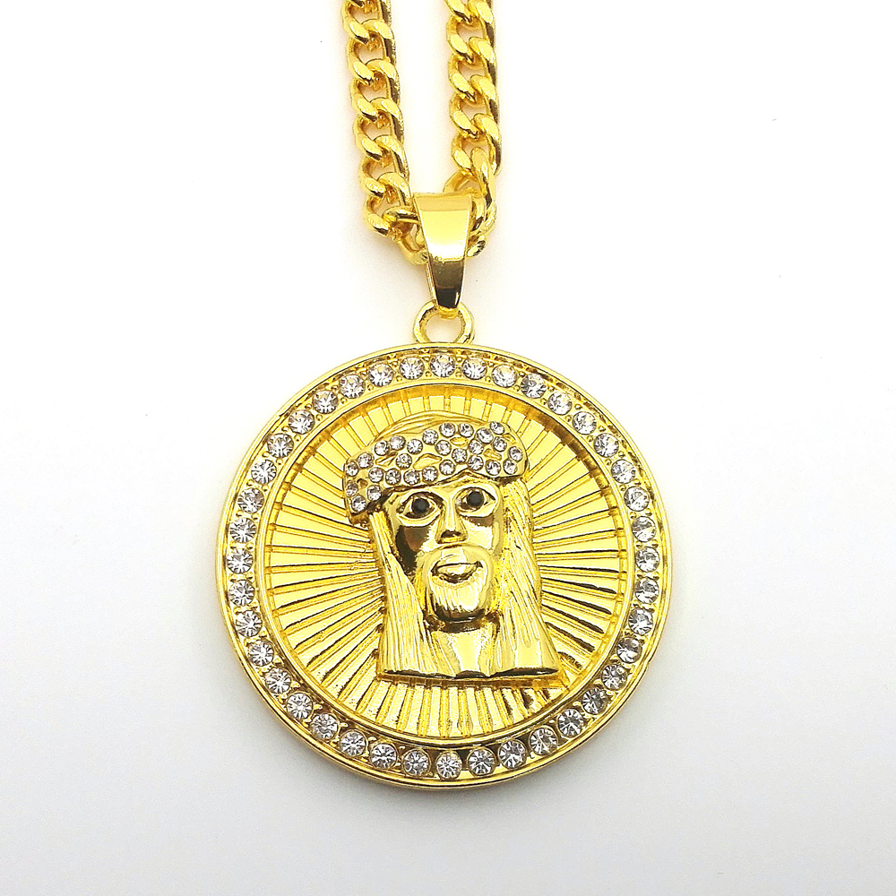 new medallion mens charm jesus disc head out iced christ wholesale product pendant round style hop hip