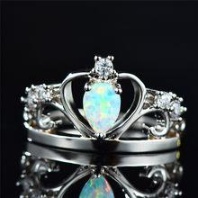 3b1ccee9a655 Boho mujer blanco fuego ópalo anillo único 925 plata esterlina corona anillo  Vintage boda banda promesa anillos de compromiso pa.
