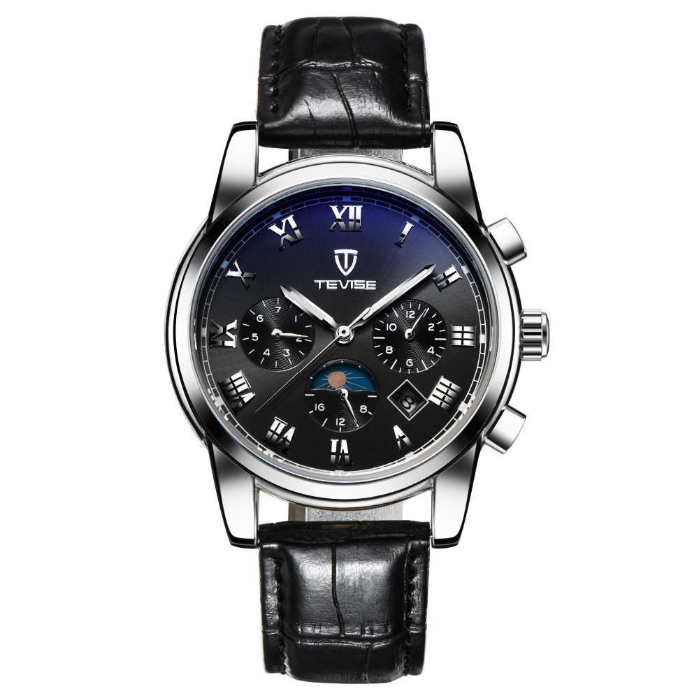 TEVISE luxury brand Men s automatic mechanical wrist watches waterproof Moon phase Luminous Switzerland Calendar Seconds